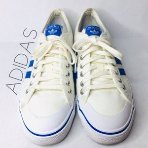 Adidas Nizza off white blue 3 stripe sneakers 11